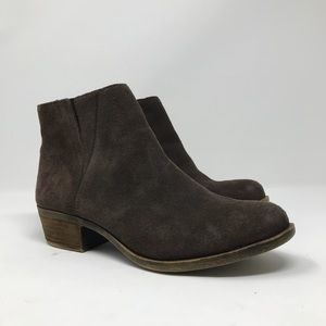 Lucky Brand Brown Suede Ankle Booties Size 6.5